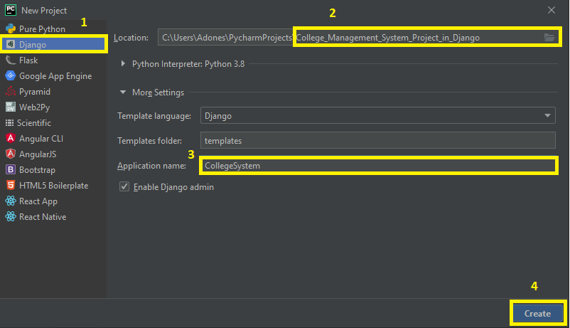 Finish Creating Project for College Management System Project in Django With Source Code