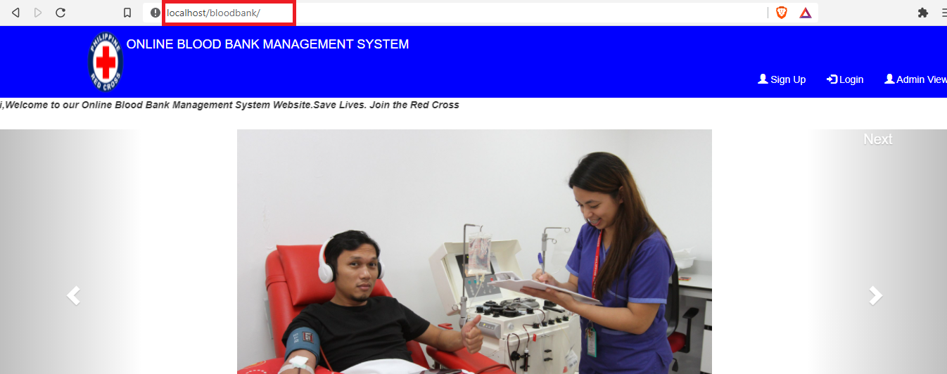 Open website Online Blood Bank Management System in PHP with Source Code