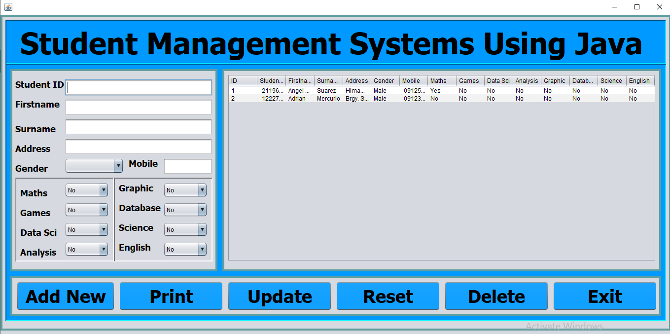 Student Management System Java output