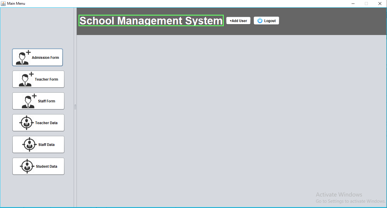 school management system project in java output