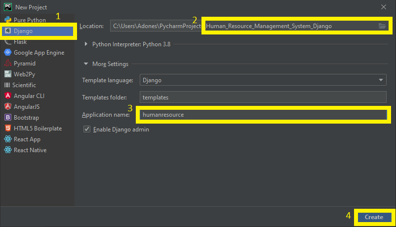 FInish creating project name for human resource management system in Django with source code