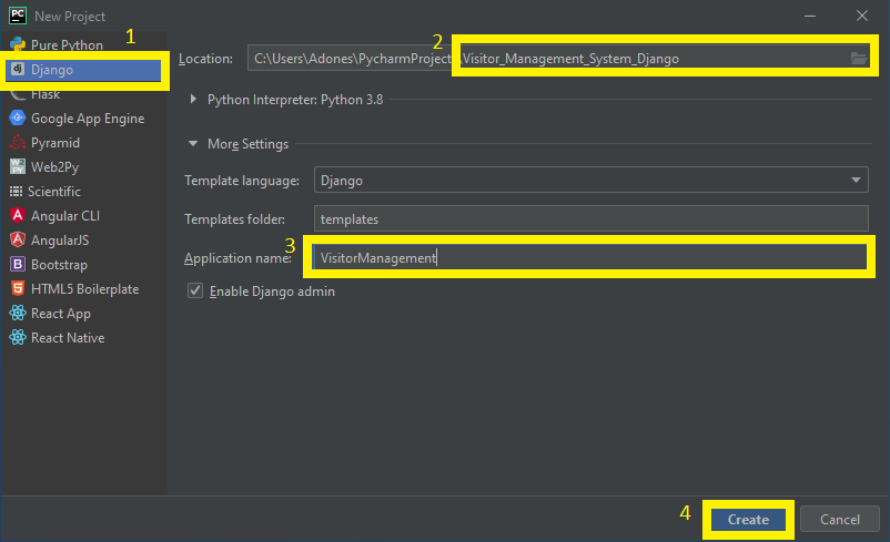 Finish Creating Project name for Visitor Management System in Django with Source Code