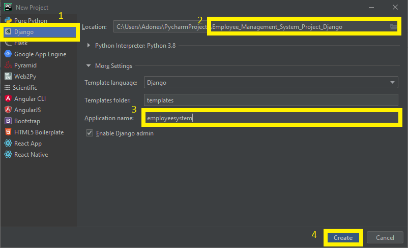 Finish Creating Project Name for Employee Management System Project in Django with Source Code