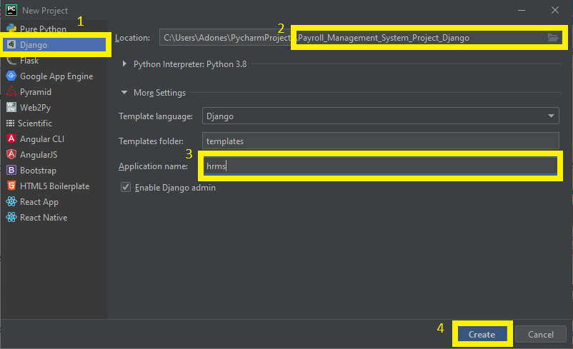 Finish creating project name for Payroll Management System Project in Django with Source Code