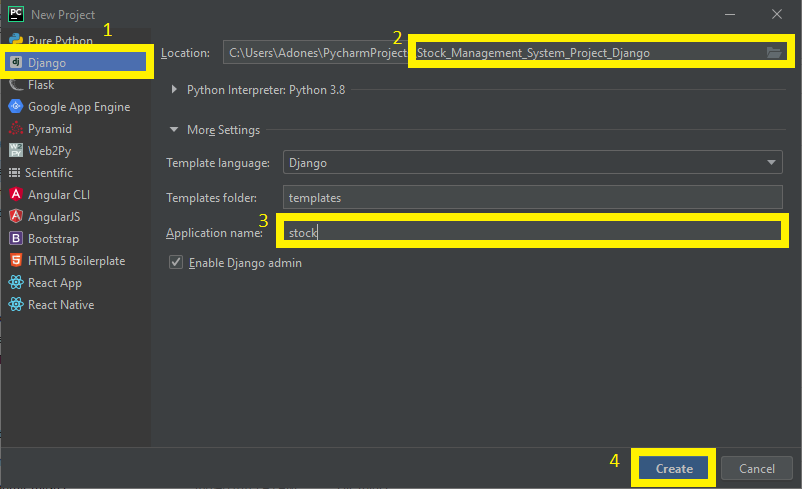 FInish Creating Project name for Stock Management System Project in Django with Source Code