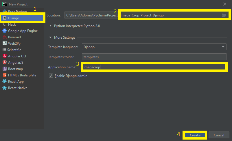 Finish Creating Project Name for Image Crop Project in Django with Source Code