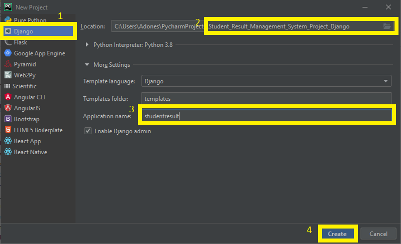 Finish Creating Project Name for Student result Management System Project in Django with Source Code