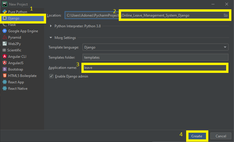 Finish Creating Project name for Online Leave Management System Project in Django with Source Code