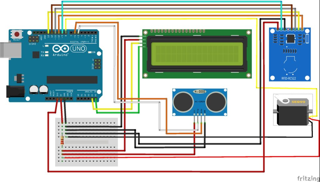 Wiring Diagram of RFID Door Lock Using Arduino Project with Data Logging in Python
