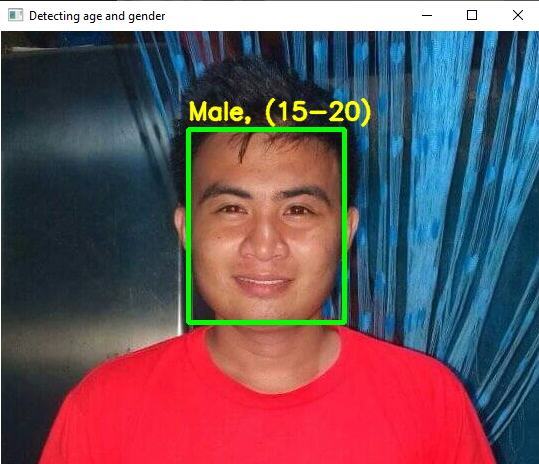 Gender and Age Detection OpenCV Python Output