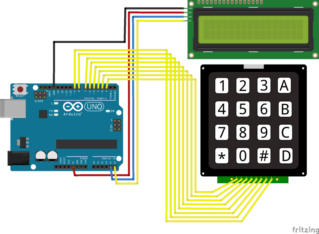 Keypad and LCD wiring