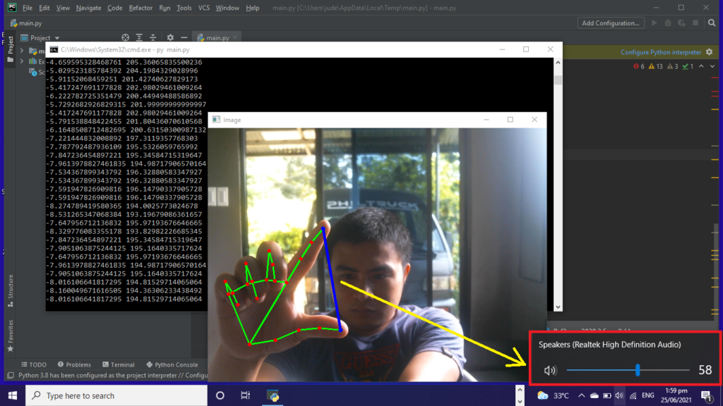 Volume Control With Hand Detection OpenCV Python Output