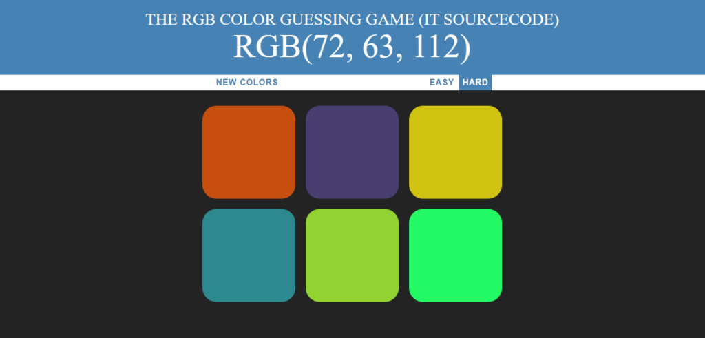 Color Guessing Javascript Output