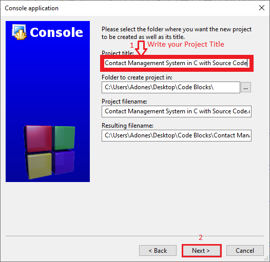 Finish Creating Project name for Contact Management System in C with Source Code