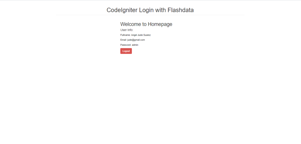 Home Page In CodeIgniter Output
