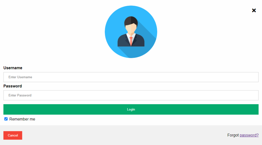 Login Page In Javascript Output