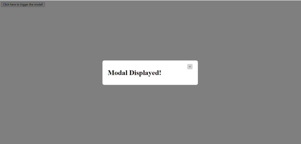 Modal Popup In Javascript Output