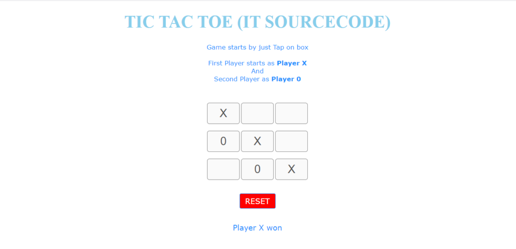 Tic Tac Toe In Javascript Output
