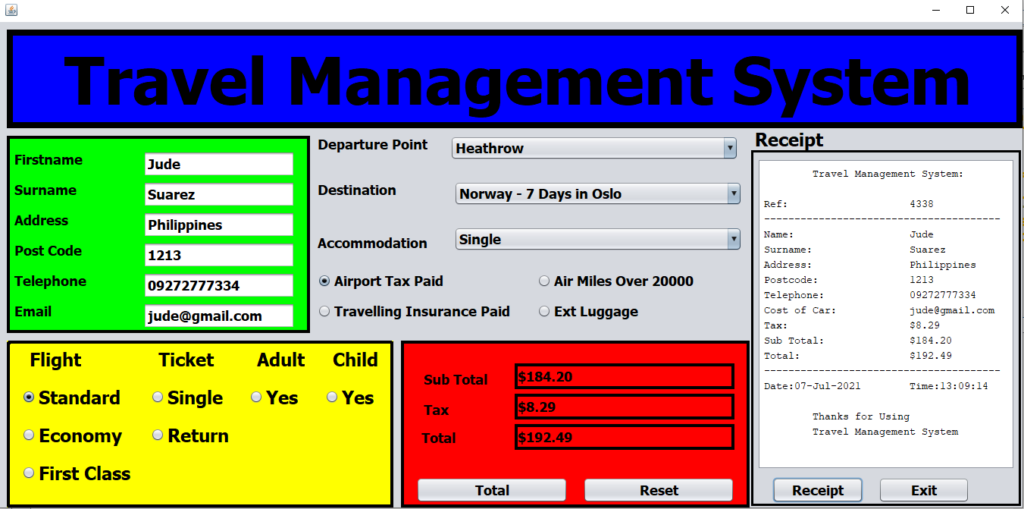 Travel Management System Project In Java Output
