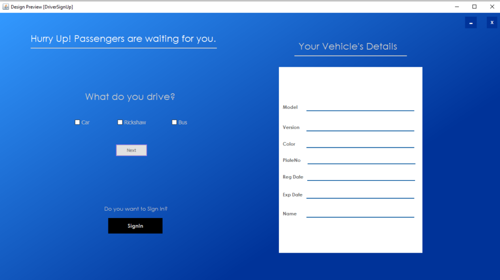Vehicle Management System Project In Java Driver Registration