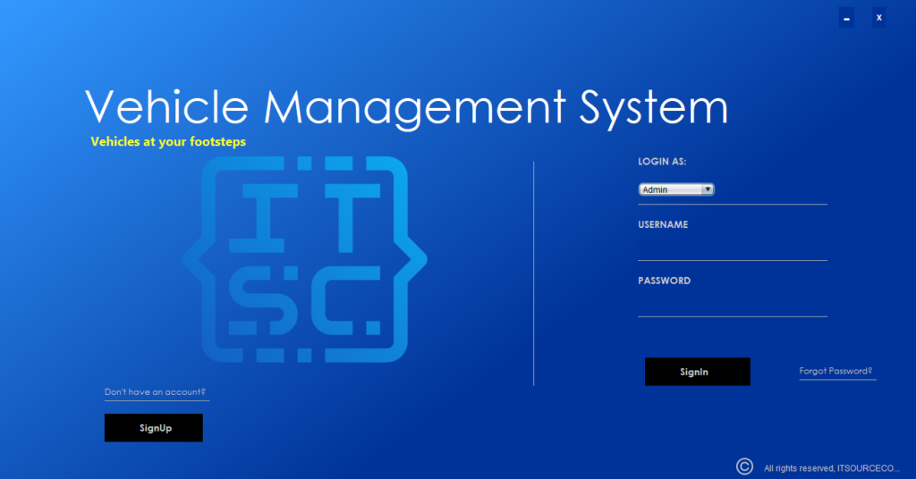 Vehicle Management System Project In Java Login Page
