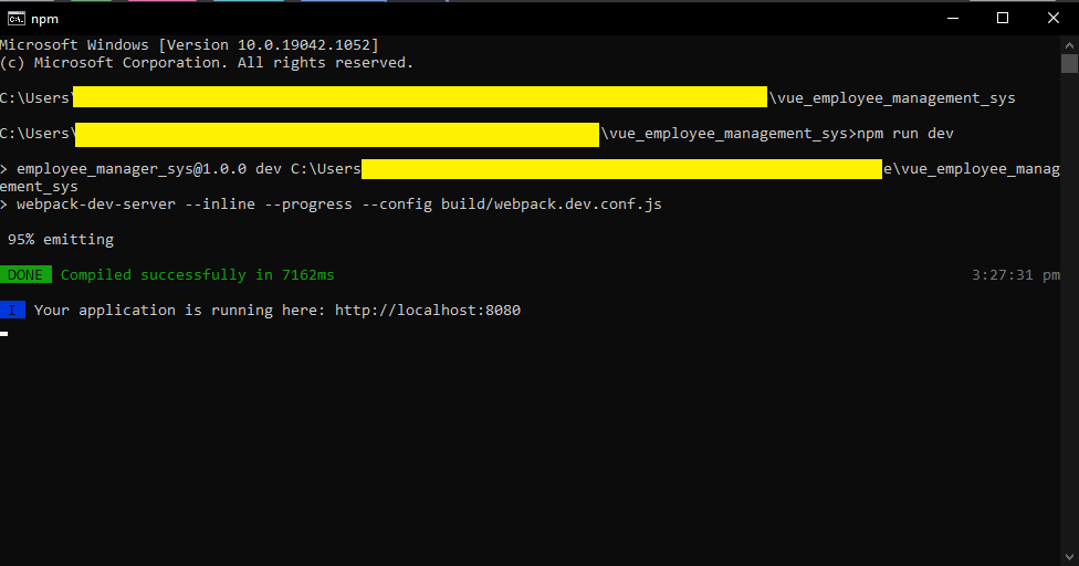 command line prompt for localhost