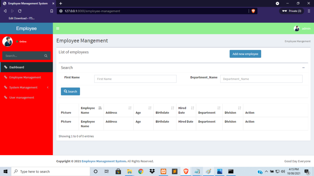 Employee Dashboard for Employee Management System in Laravel With Source Code