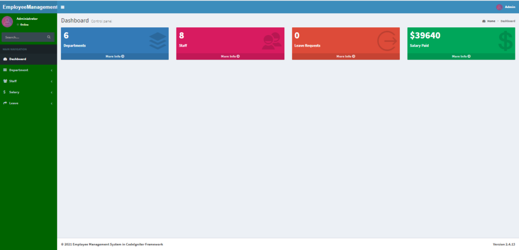 Employee Management System In CodeIgniter Admin Panel
