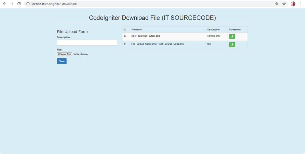 File Download In CodeIgniter Output