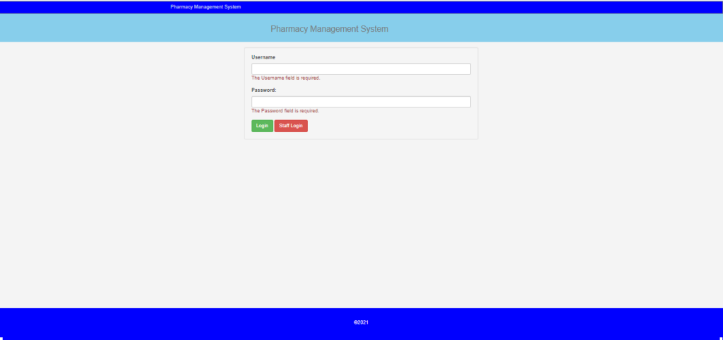 Pharmacy Management System In CodeIgniter Login Page