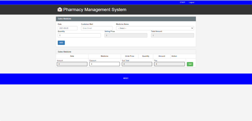 Pharmacy Management System In CodeIgniter Staff Panel