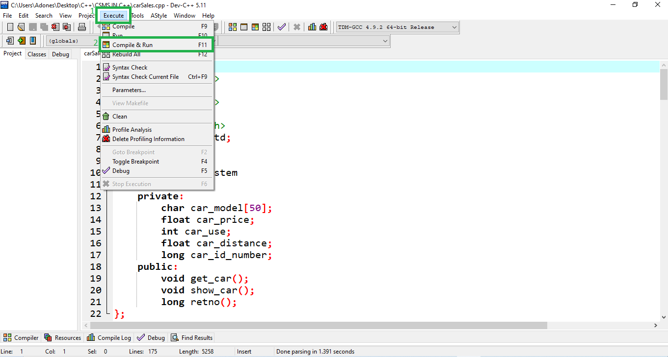 Run Project for Car Sales Management System Project in C++ with Source Code