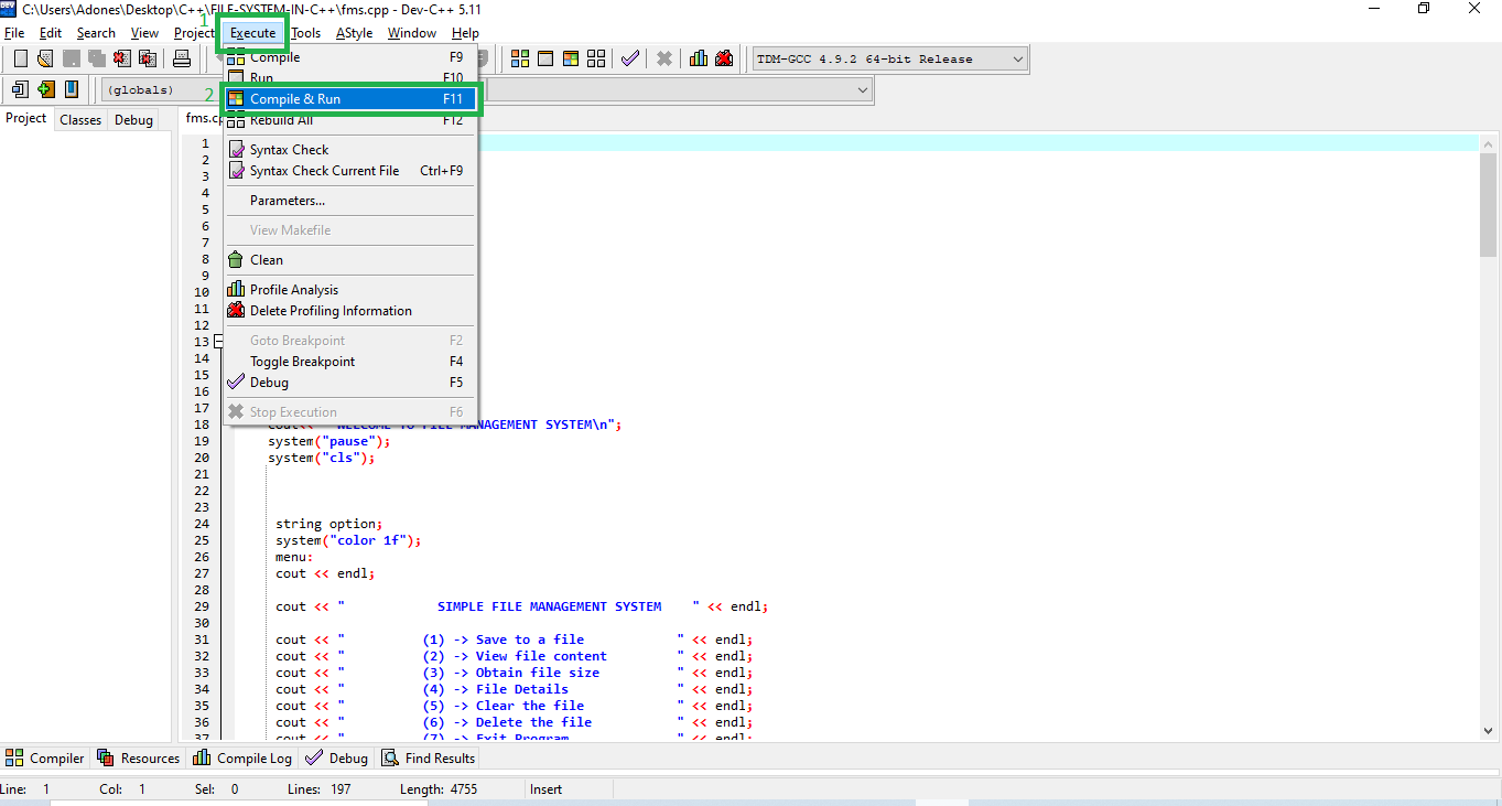 Run Project for File Management System In C++ With Source Code