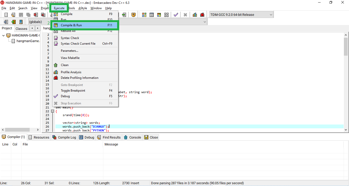 Run Project for Hangman Code In C++ With Source Code 1