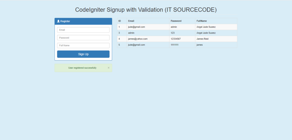 Simple Registration Form In CodeIgniter With Database Output