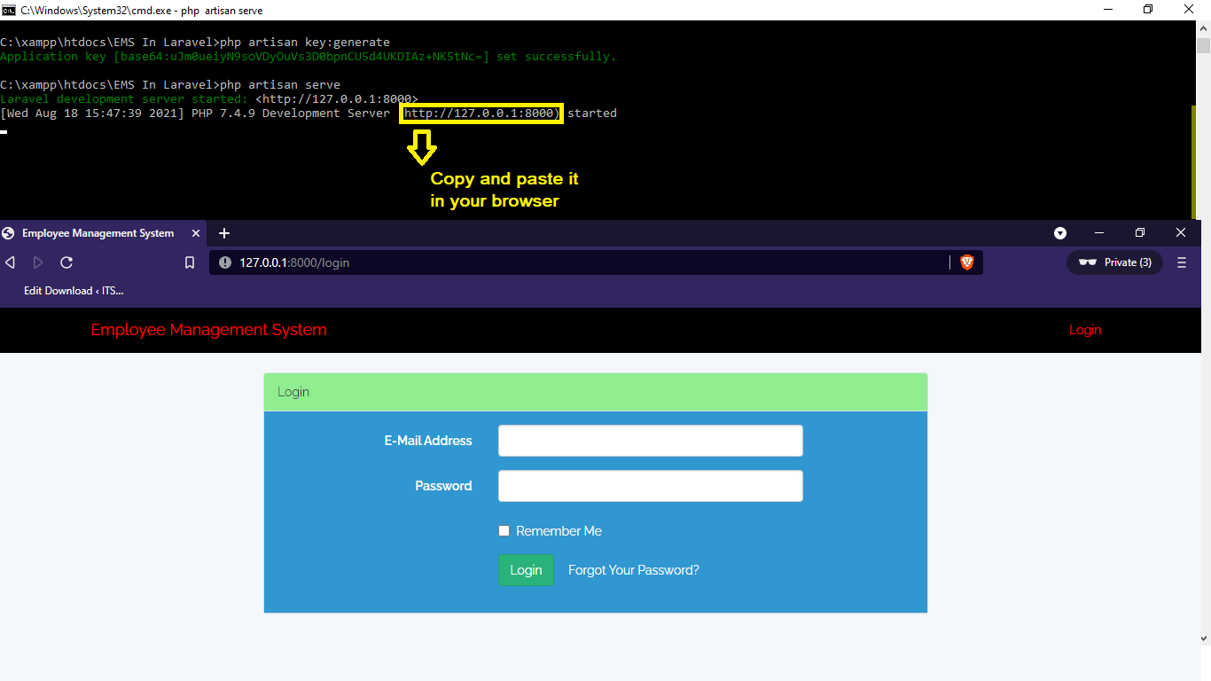 php artisan serve for Employee Management System in Laravel With Source Code