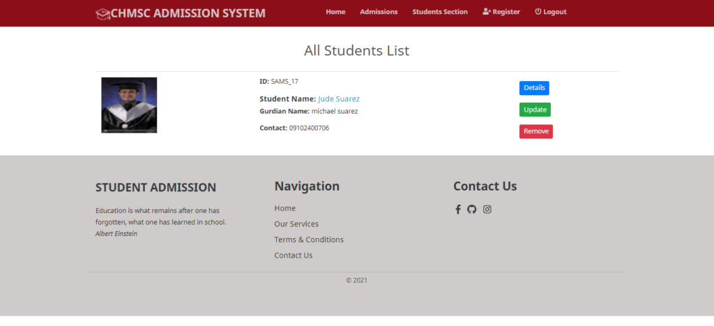 Online Admission Management System In CodeIgniter List of Student