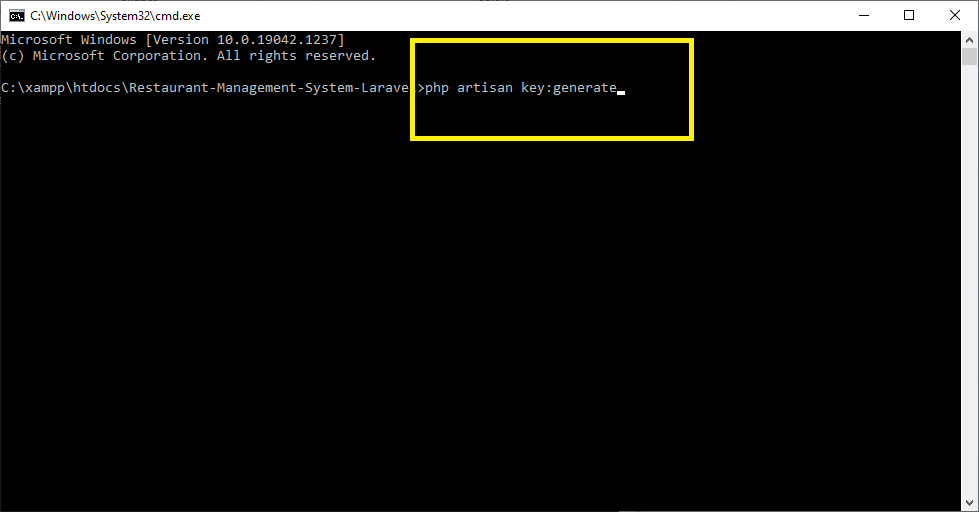 php artisan key generate for Laravel Restaurant Management System with Source Code