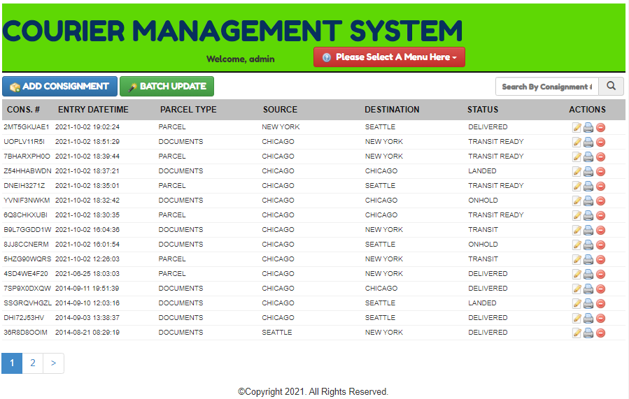 Courier Management Saystem In CodeIgniter Output